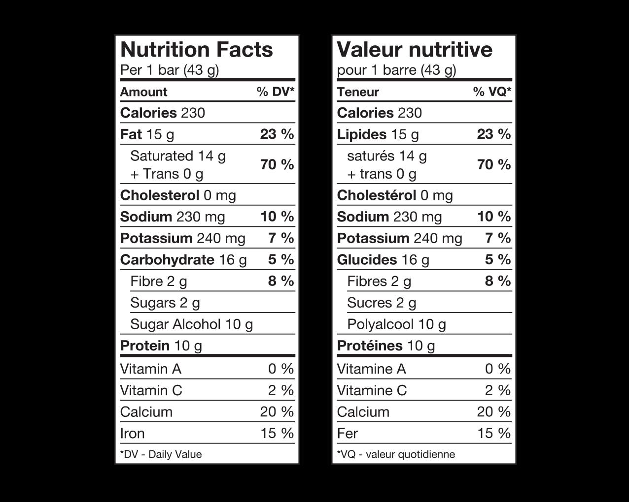 IdealProtein-Barra-chocolatée-aux-framboises-Valeur-Nutritive