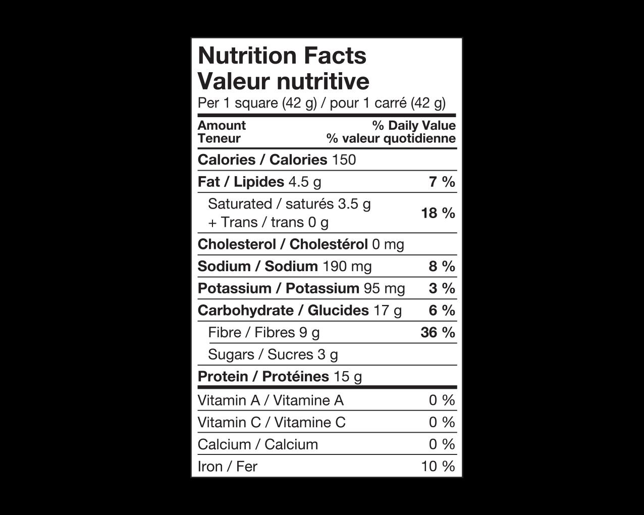 Ideal Protein Carré croustillant à la vanille Valeur Nutritive