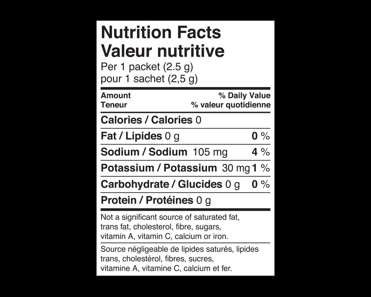 IdealProtein-Tangerine-aromatisant-eau-en-poudre-Valeur-Nutritive