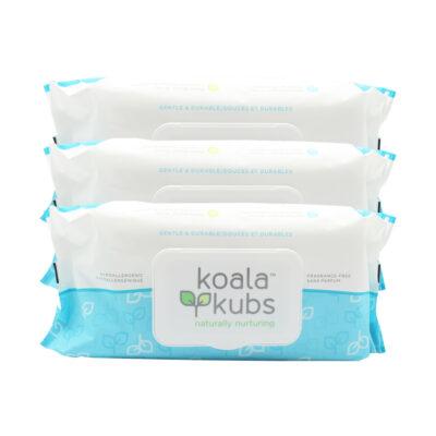 Lingettes pour Bébés sans Parfum et naturelles Koala Kubs – 3 paquets